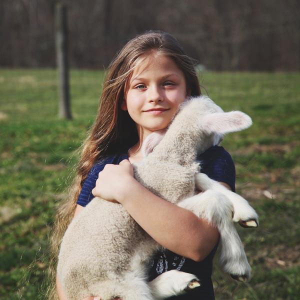 Granddaughter India Rose with lamb