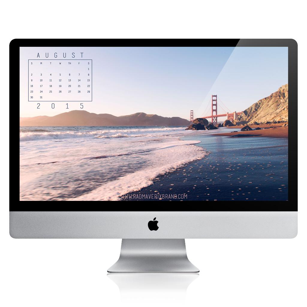Free August Desktop Calendar