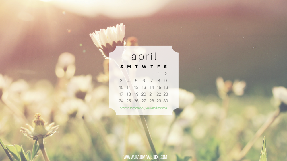 Rad Maverix April 2016 Calendar