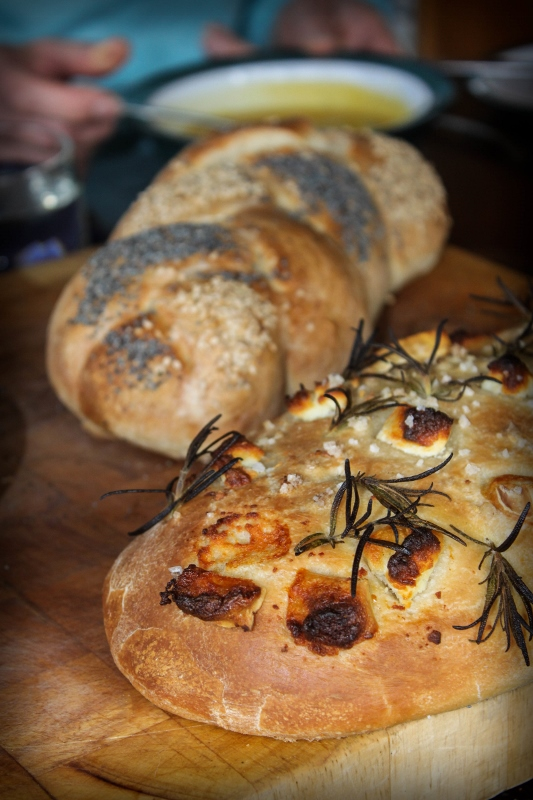 goats cheese focaccia and a seeded plait