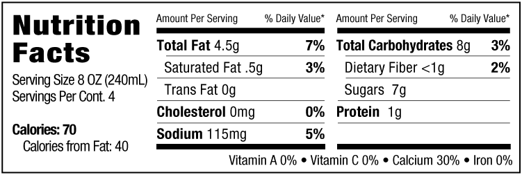 barista nutrition facts