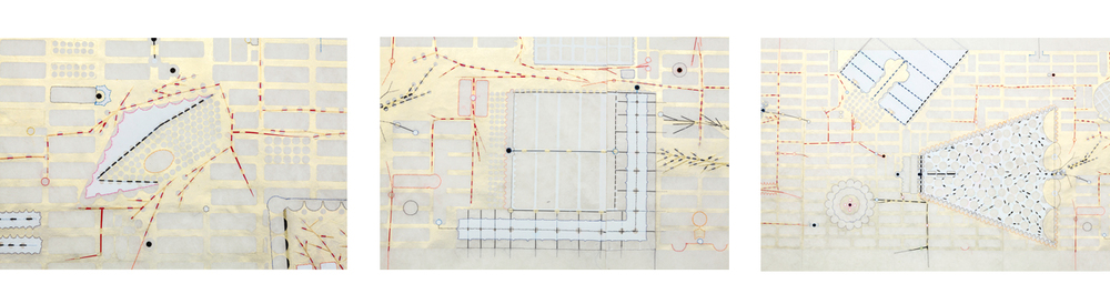 trans-scapes 1,2     can simultaneously be viewed as map, narrative, schematic of architectural space or the micro movement of neural firings. Observations of walking experience along pilgrimage circuits and paths in Japan during a 2011 Creative Artist Exchange strengthened my affinity to the relationships of movement within contemplative settings. Evident in these long drawings is the requirement of walking and close inspections on the part of the viewer. My research further informed subsequent full scale immersive installations with expanded passages.