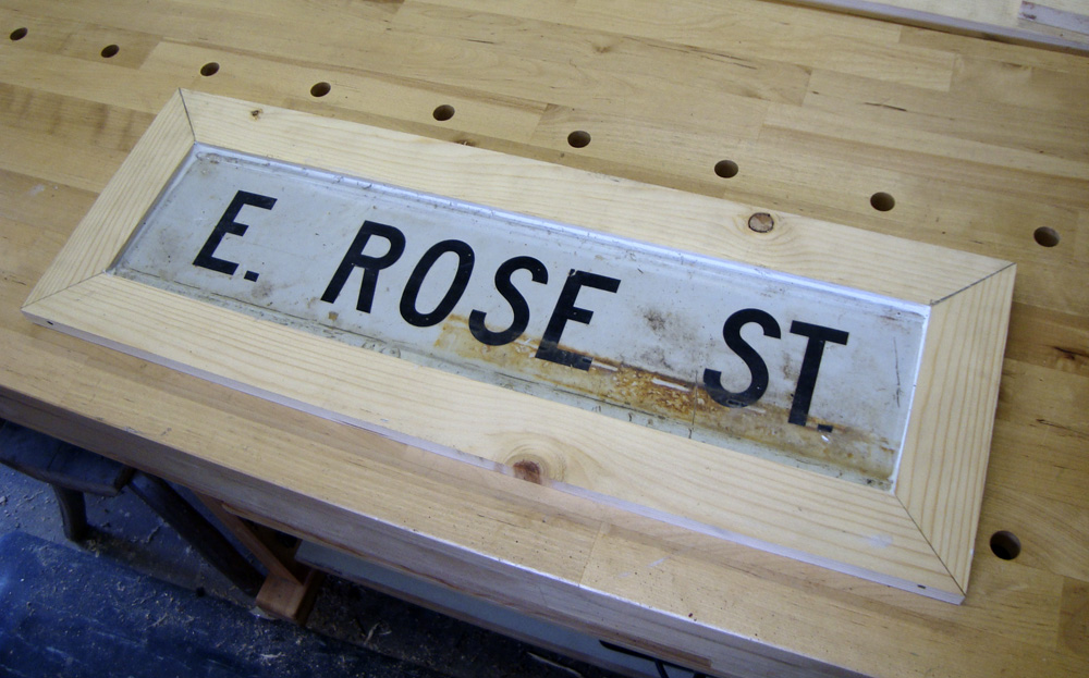Tramp art rose sign roughed in.