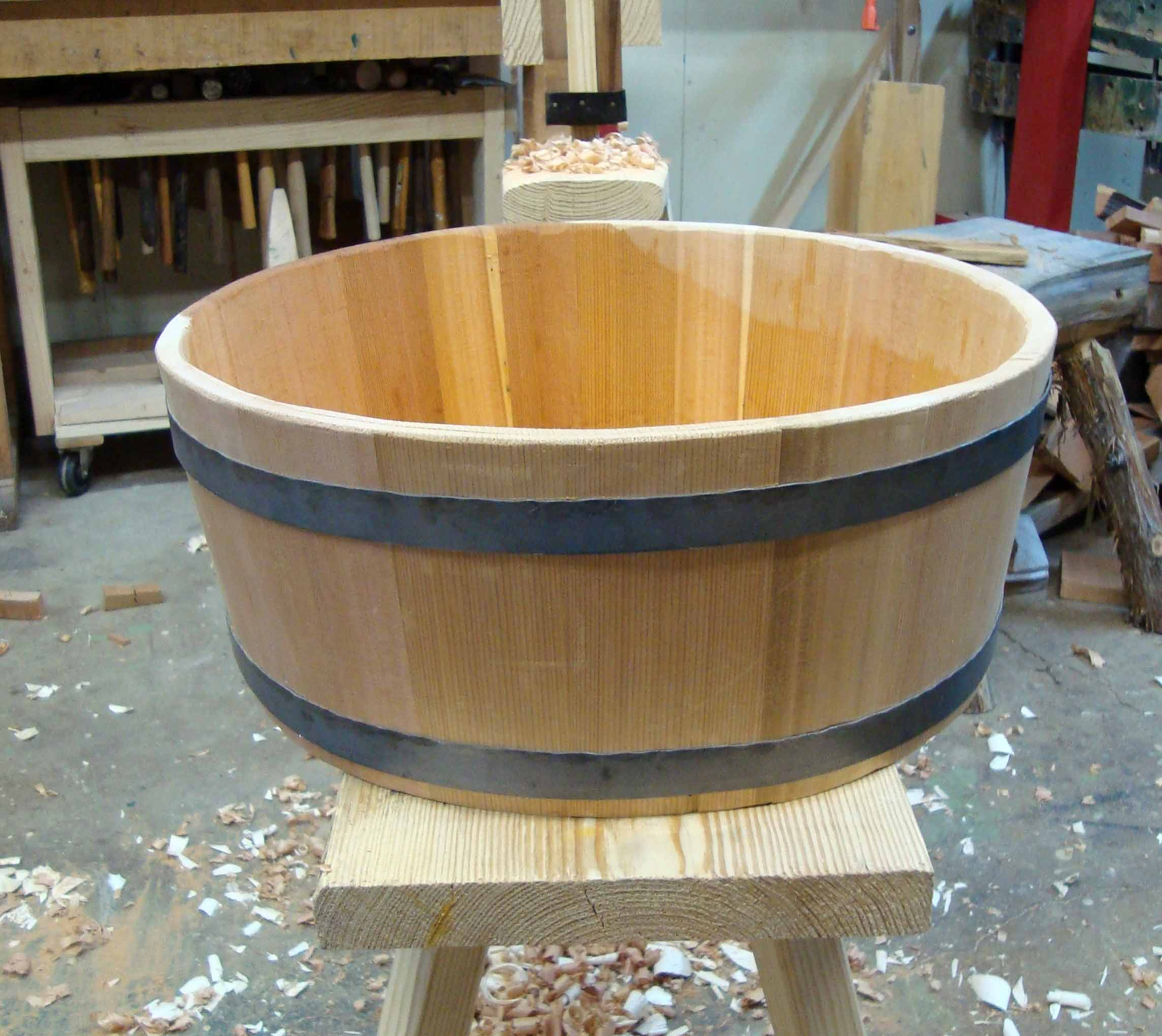 hand-made coopered wooden wash tub