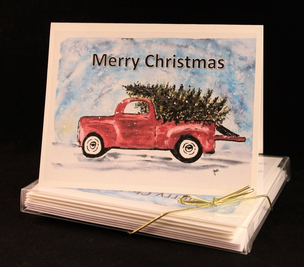 Antique Red Truck Merry Christmas Watercolor Print Card Set.jpg