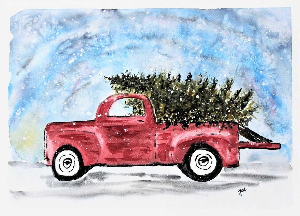 Red christmas truck watercolor 11x14 Saunders 140lb to print.jpg