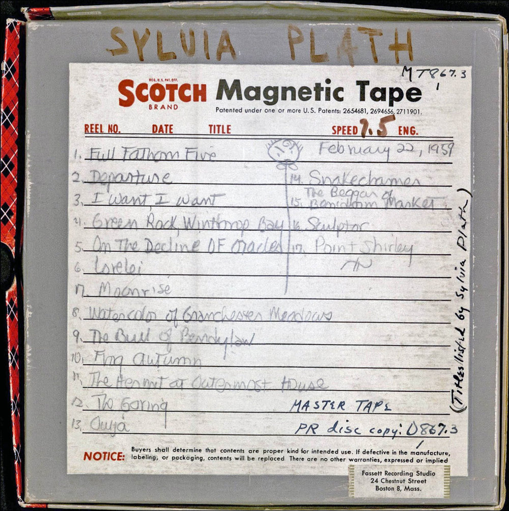 Reel-to-reel box, with handwritten track-listings by Sylvia Plath. Courtesy of the Woodberry Poetry Room, Harvard University. PS3566.L27.A6 1959x.