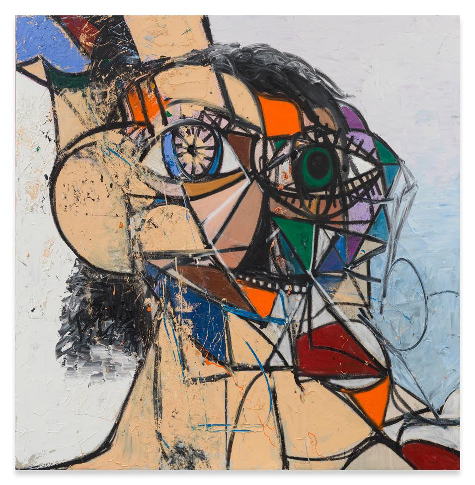 George-Condo,-Orange-and-Green-Diagonal-Portrait,-2016