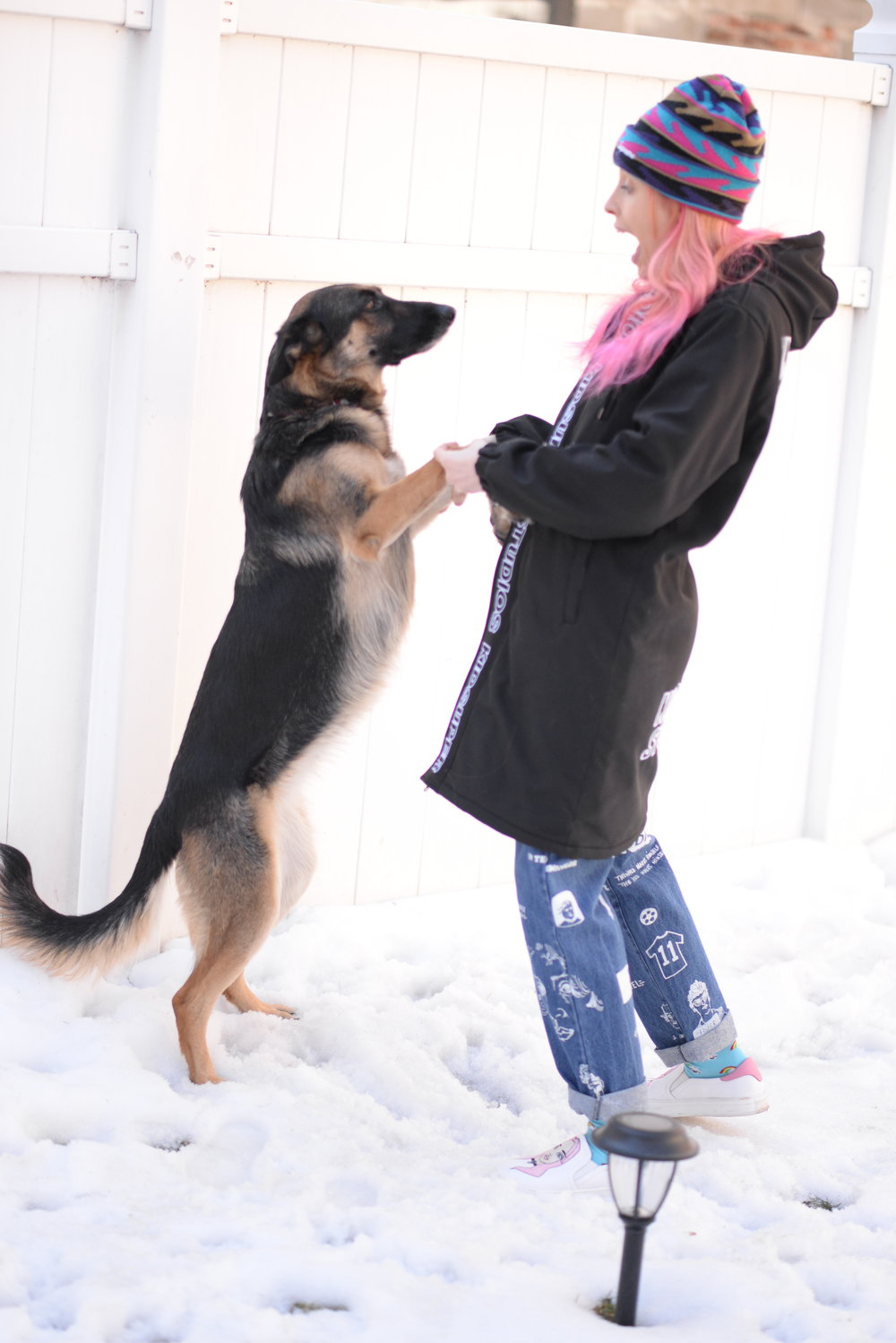 2PM - Playing with my baby Luna in the snow, we are great dancers!