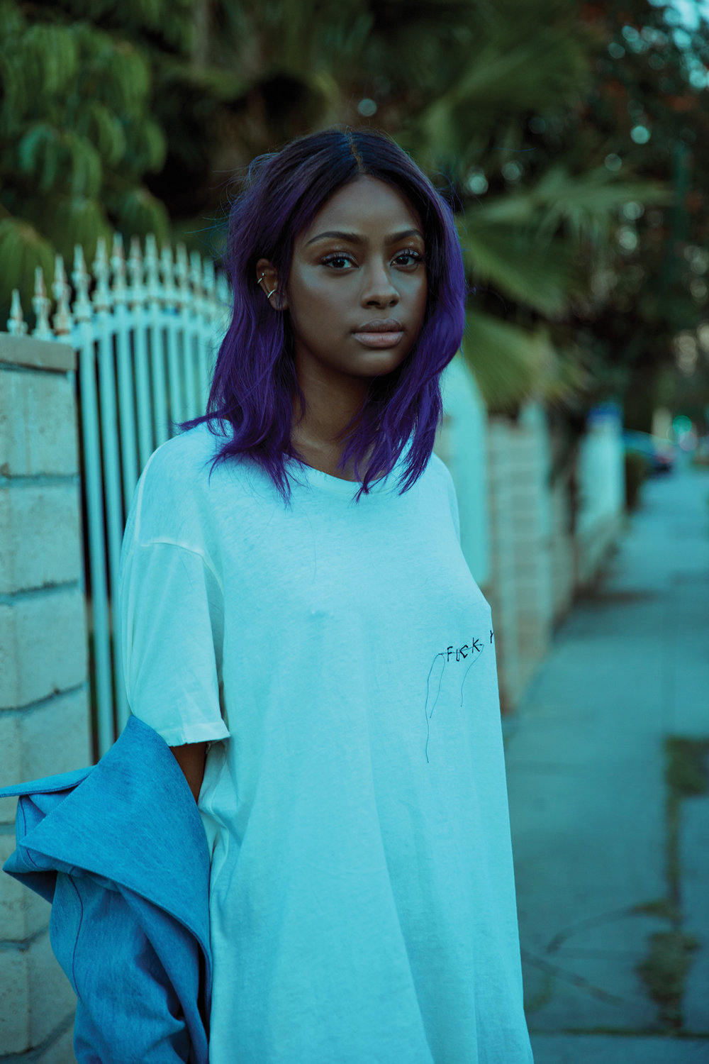 "Justine Skye wearing  For Those Who Sin  T-shirt in a shoot for Flaunt's ""Call Your Girlfriend Issue"""