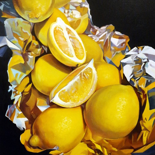 LEMON COMPOSITION  01/15/2015  oil paint  24*30 inch   ©  go woon choi