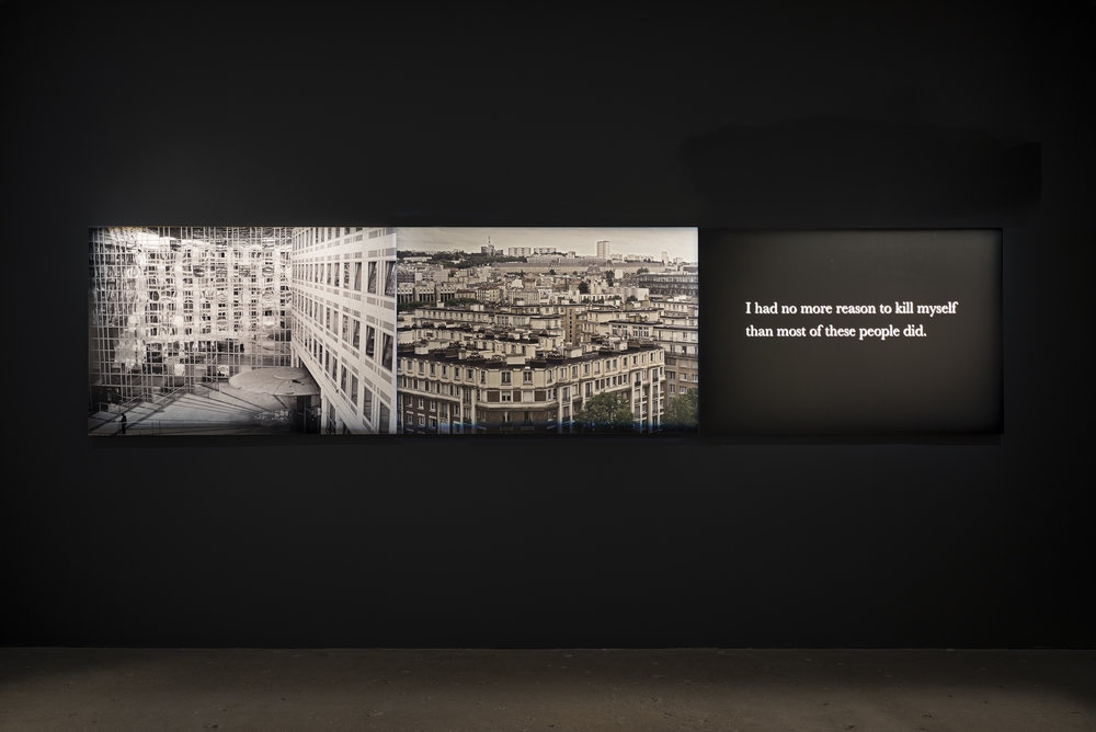 """Michel Houellebecq, """"France #008–France #009–I had...""""(2017).Triptych: 3 pigment prints on Baryta paper mounted on aluminum all: 39 3/16 x 172 7/16 in (99.5 x 438 cm) each: 39 3/16 x 57 1/2 in (99.5 x 146 cm)"""