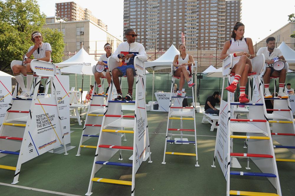 Pharrell Williams with athletes Garbiñe Muguruza, Angelique Kerber, Sascha Zverev, Dominic Thiem + Jo-Wilfried Tsonga.jpg