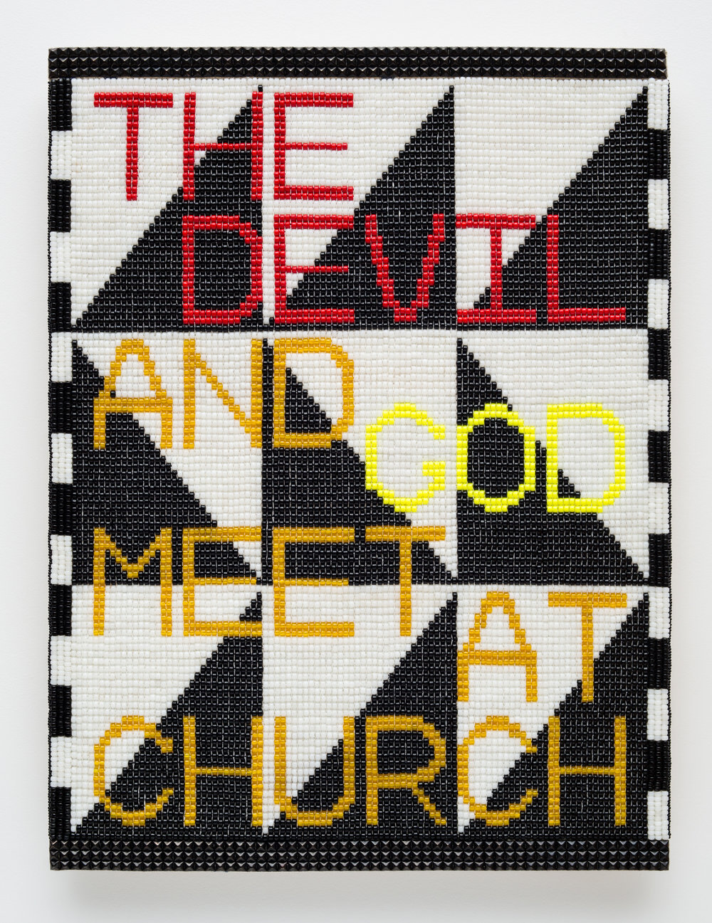 "Jeffrey Gibson. ""THE DEVIL AND GOD MEET AT CHURCH"" (2017). Glass beads, artificial sinew, metal studs, acrylic felt, over wood panel. 40 x 30 INCHES."