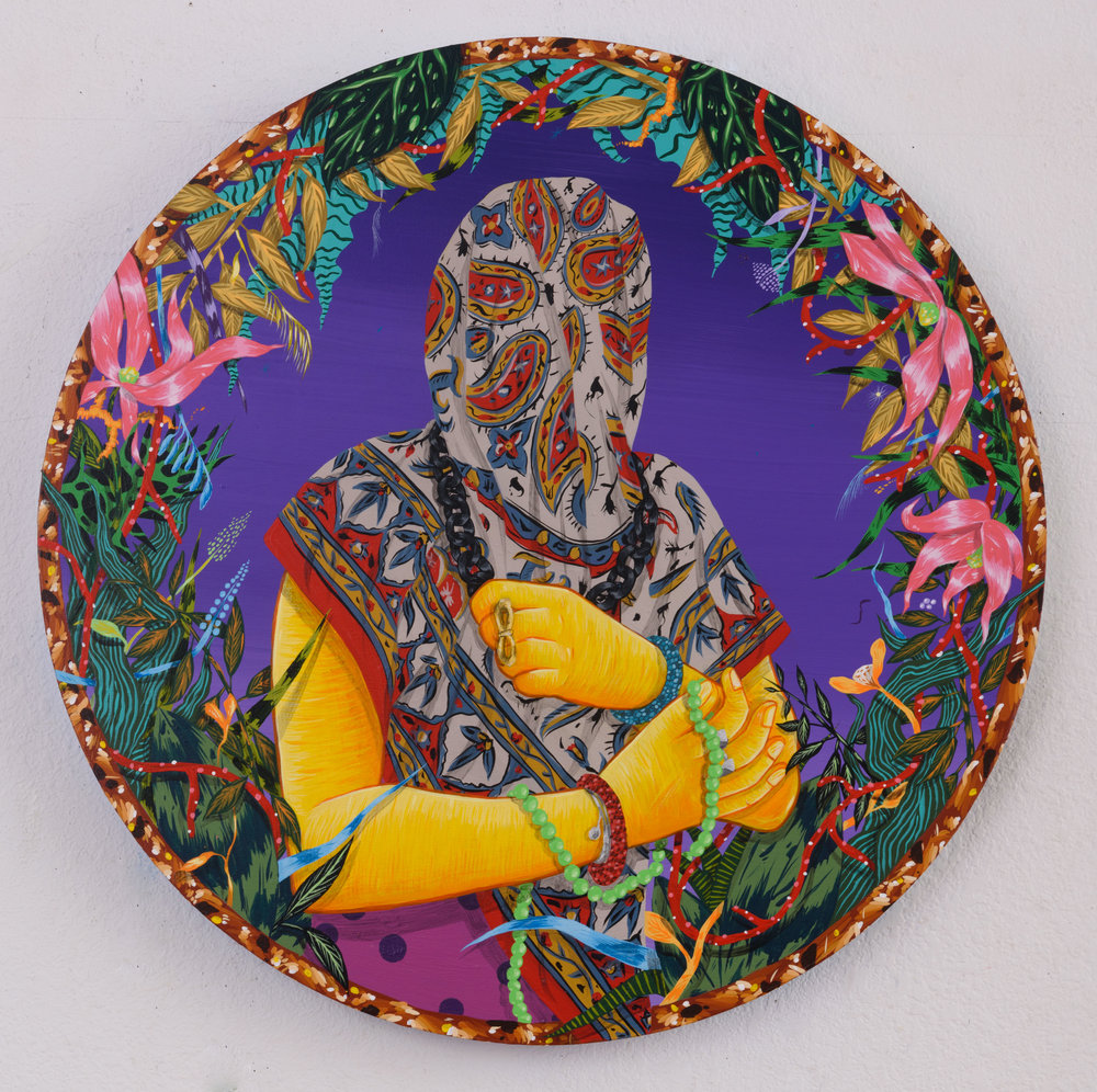 "Amir H. Fallah. ""Enrapt"" (2017).  Acrylic on panel. 24 INCHES IN DIAMETER. Courtesy of the Artist and Shulamit Nazarian, Los Angeles."