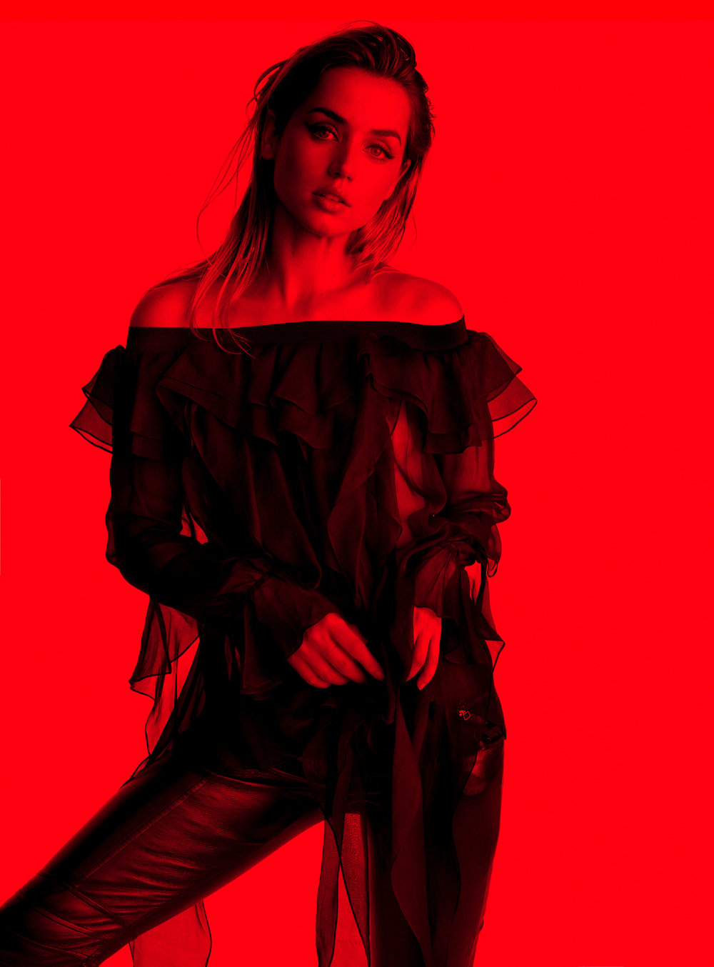 Ana de Armas  | CREDITS: PREEN BY THORNTON BREGAZZI  shirt and  AG  pants.