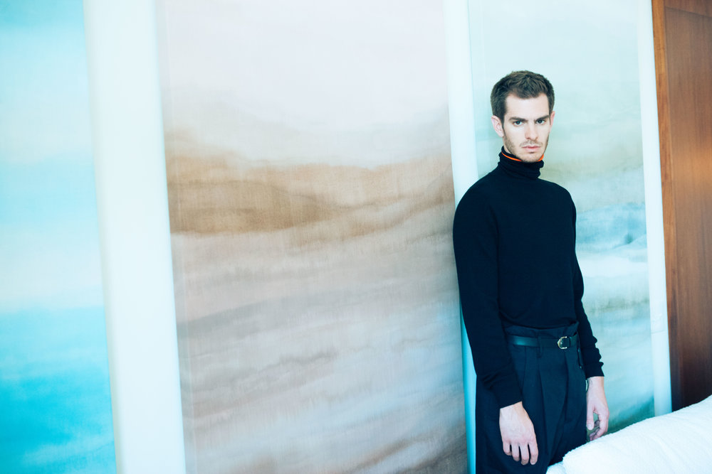 Andrew Garfield  | all images shot by Eliot Lee Hazel | FASHION CREDITS:  DIOR HOMME  turtleneck and keychain,  HAIDER ACKERMANN  pants available at MatchesFashion.com, and  LOUIS VUITTON  belt.
