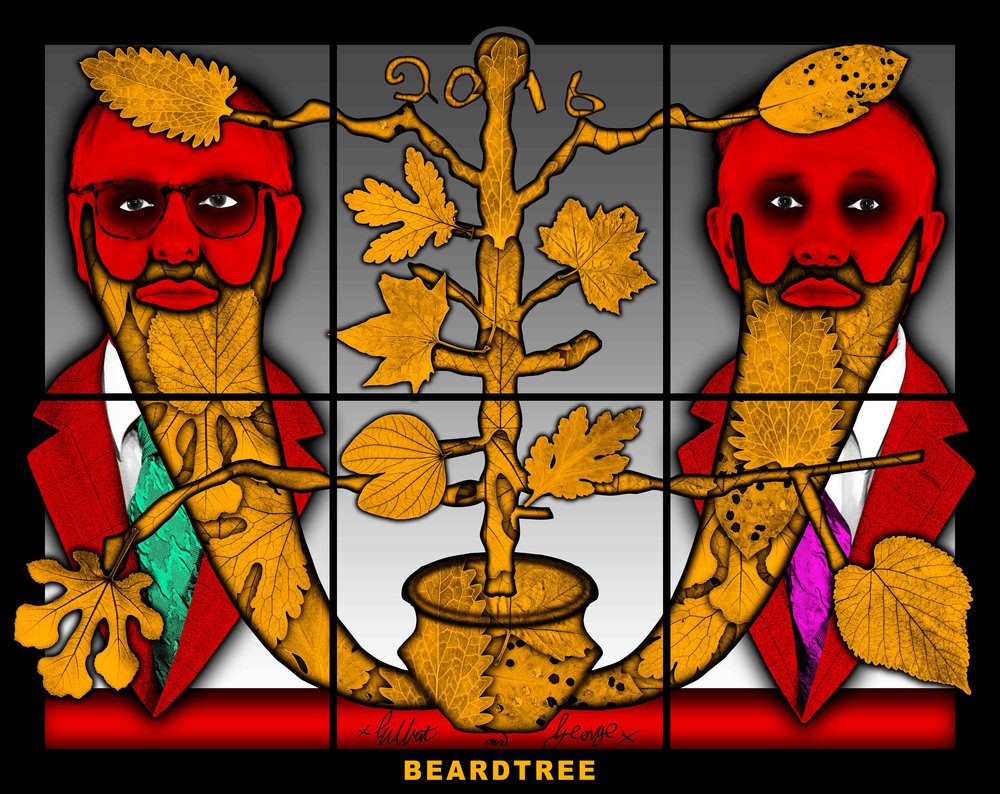 "GILBERT & GEORGE. ""BEARDTREE"" (2016). Mixed Media. 59.45 x 74.8 inches. © Gilbert & George. Courtesy the artists and Lehmann Maupin, New York and Hong Kong."