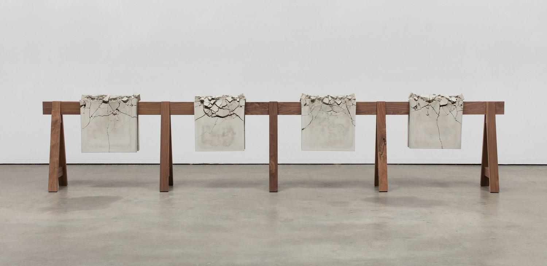 "Analia Saban. ""Draped Concrete"" (2016). Four concrete slabs on wooden 67681ec4a99b"