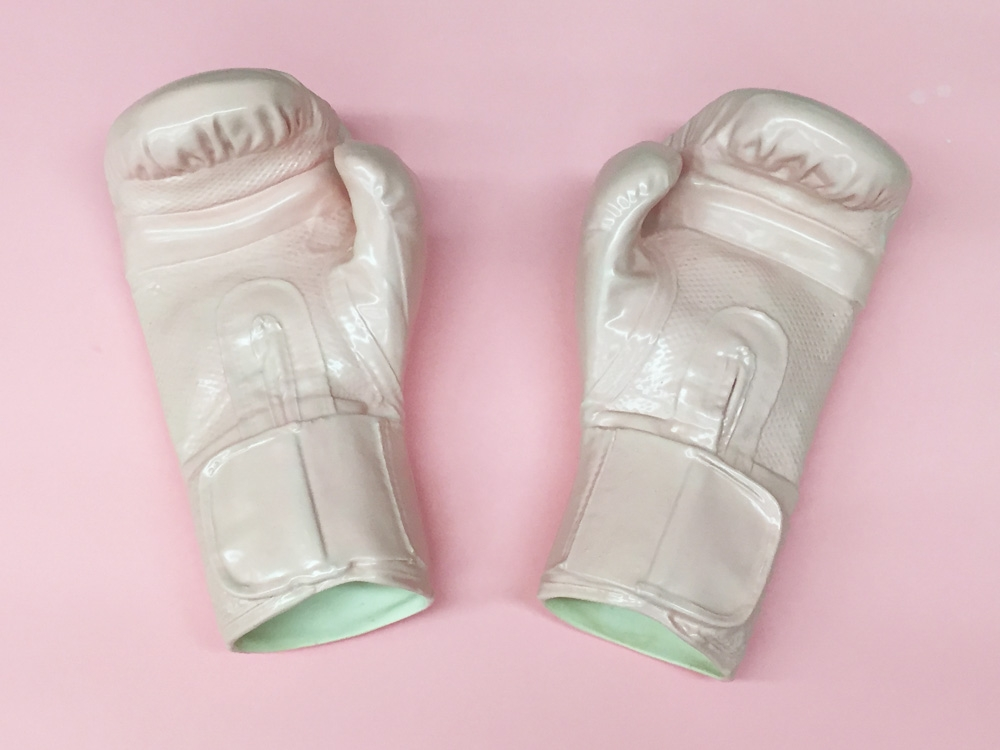 Jen Dwyer,  Porcelain Boxing Gloves,  2017. ONE YEAR OF RESISTANCE.