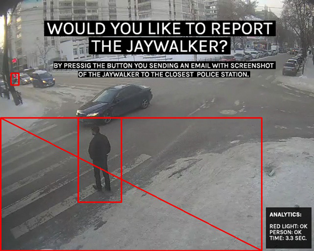 """DRIES DEPOORTER. """"JAYWALKING AT TRAILERPARK I/02016"""" (2016). LIVE UNPROTECTED SURVEILLANCE FOOTAGE OF INTERSECTIONS IN DIFFERENT COUNTRIES. COURTESY THE ARTIST."""