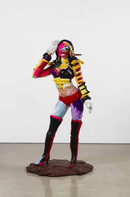 "RACHEL FEINSTEIN. ""BANDLEADER"" (2018). HAND-APPLIED COLOR RESIN OVER FOAM WITH WOODEN BASE. 76 X 40 X 30 INCHES. COURTESY OF GAGOSIAN."
