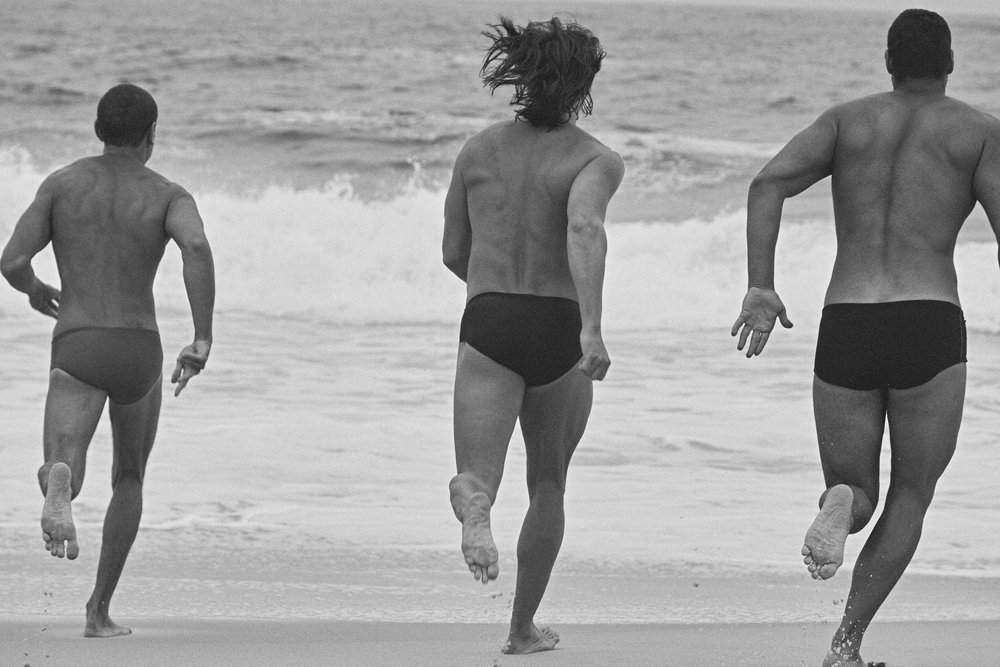 Left to right: SPEEDO briefs. ZIMMERLI briefs. SPEEDO briefs. Models: Frederico Barros Mawad, Guilherme Cardoso e Silva Hetch, Israel Wolff, Leonardo de Simone e Vitor Brigo.
