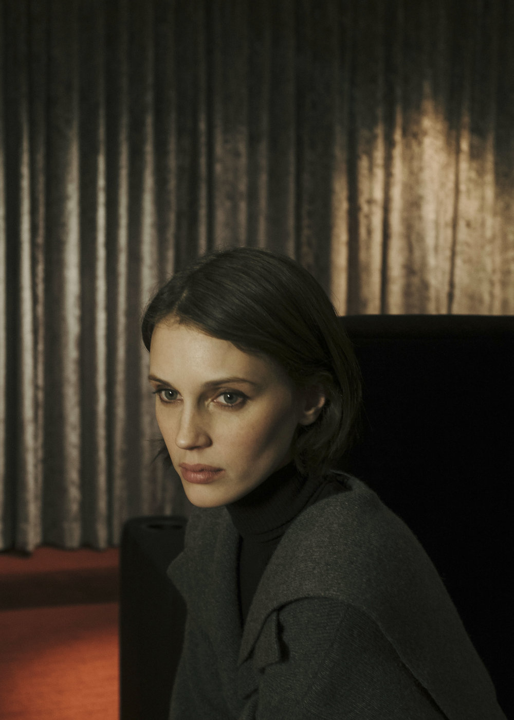 Marine Vacth  | images by by Kayee Kiu | Fashion Credits:  MAX MARA  coat and  BURBERRY  turtleneck