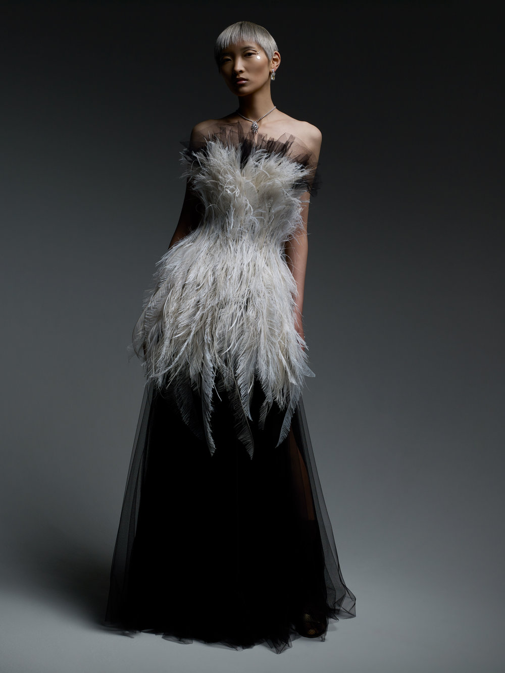 DIOR HAUTE COUTURE dress and DIOR, FINE JEWELRY necklace and earrings.
