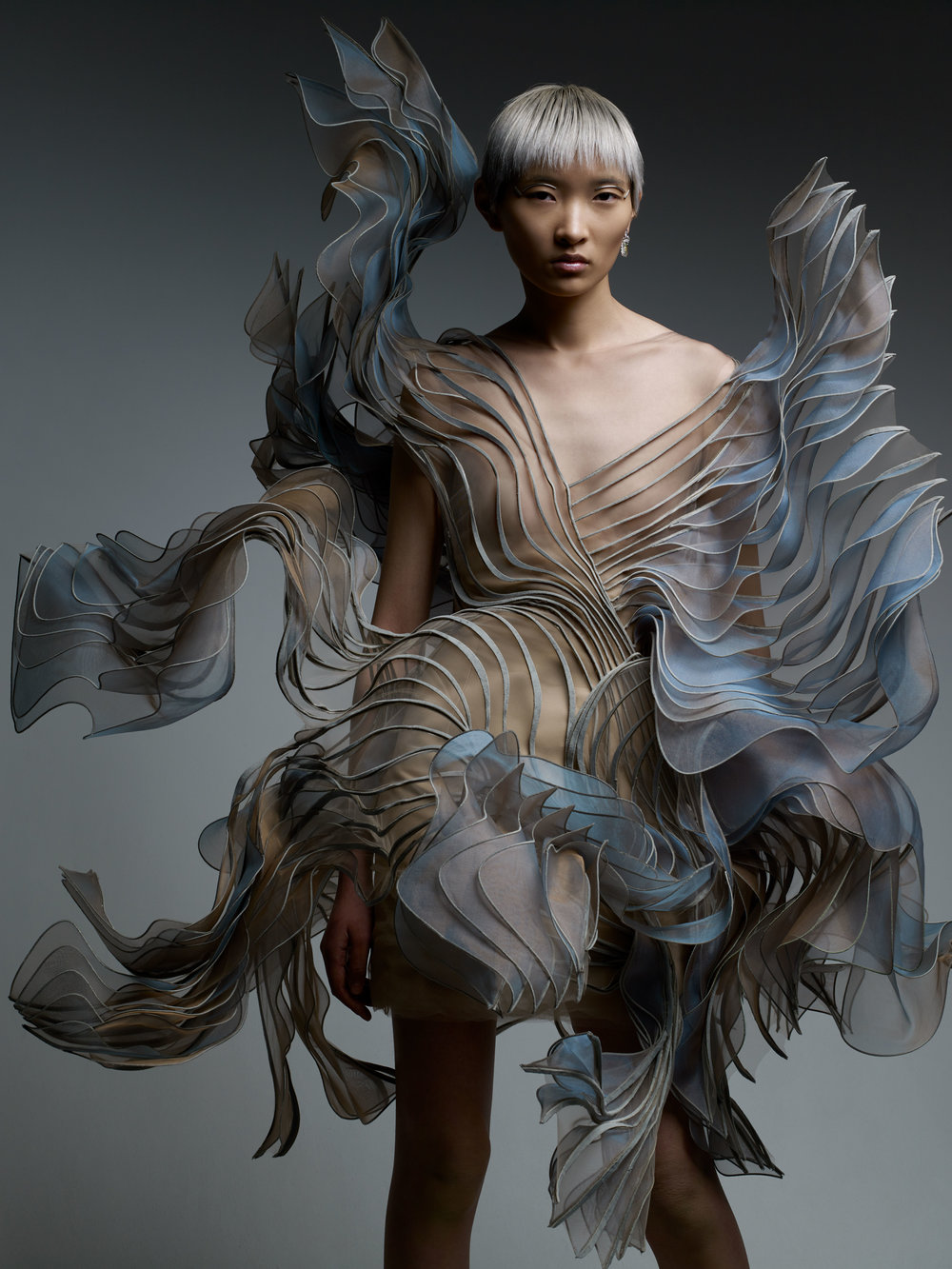 IRIS VAN HERPEN dress and DIOR FINE JEWELRY earrings.