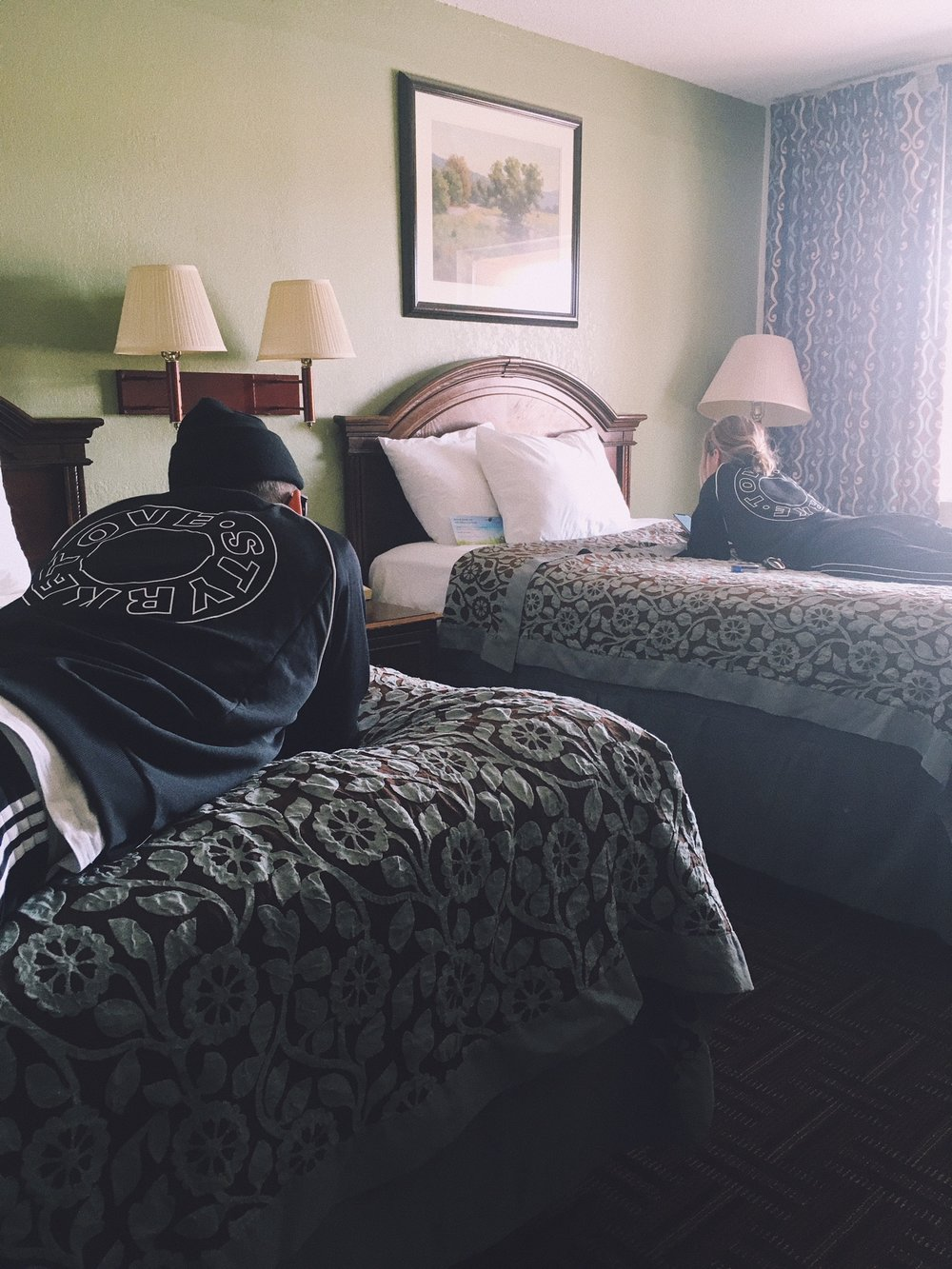 This is how we spend most of our days off. At a motel in the middle of nowhere  . | Photo Credit: Sanna Sikborn Erixon