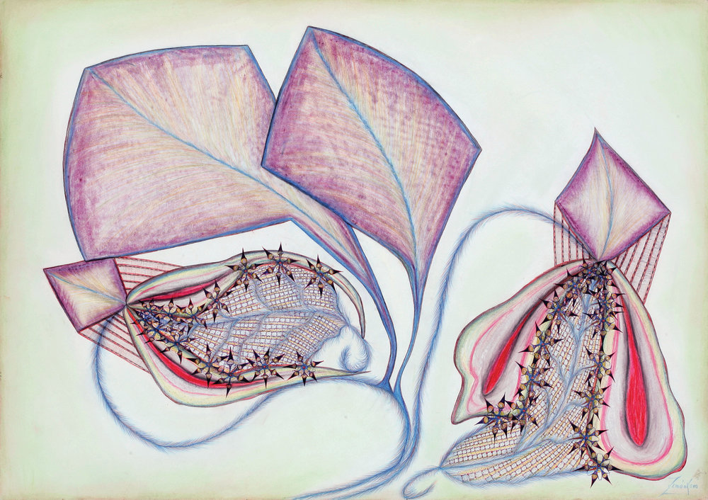 ANNA ZEMÁNKOVÁ. UNTITLED, UNDATED (AROUND 1965). PEN, PASTEL, PAPER. 24.6×32.3 INCHES. COURTESY KANT PUBLISHING AND OLOMOUC MUSEUM OF ART.