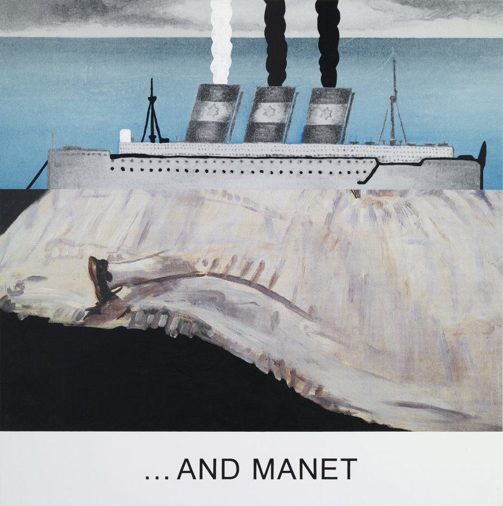 "JOHN BALDESSARI. ""DOUBLE BILL: ...AND MANET"" (2012). LACQUERED INKJET PRINT ON CANVAS WITH ACRYLIC AND OIL PAINT. 152.4 X 152.4 CM. COURTESY OF THE ARTIST AND MARIAN GOODMAN GALLERY, NEW YORK."