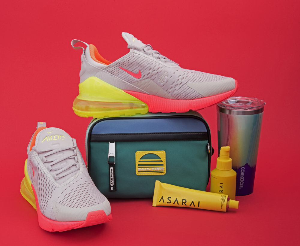 Air Max 270 shoes,  Nike , ($150). Belt bag,  Marc Jacobs , ($295). All natural clay mask and moisturizer,  Asara i, ($28.95 and $48.95). Travel cup,  Corkcicle , ($29.95).