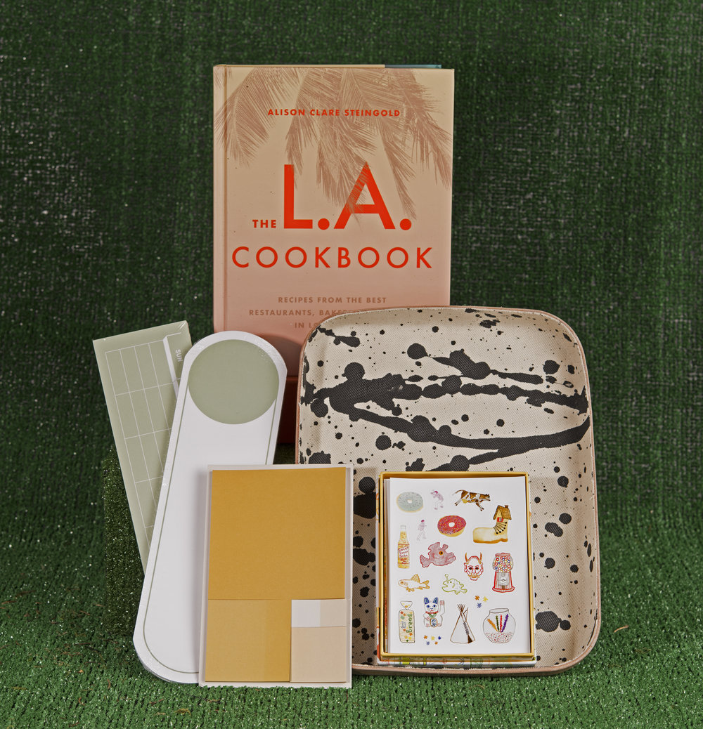 Organizing sticky pad set,  POKETO , $40. Note cards,  THE SELBY , $14.61. Desk tray,  GRAF LANTZ ,  $110.  The L.A. Cookbook ,  Alison Clare Steingold , $40.