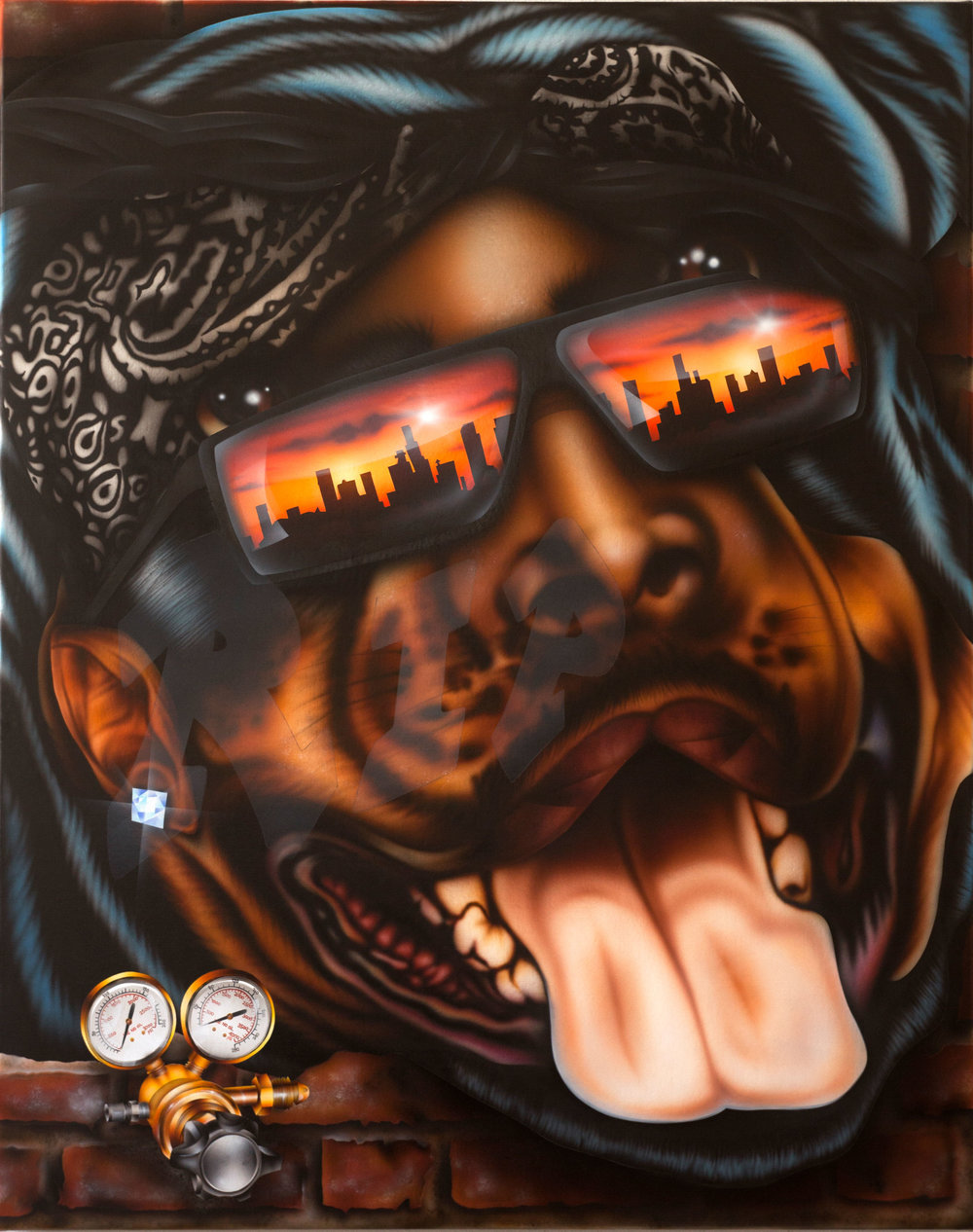 "MARIO AYALA. ""REGULATOR"" (2018). AIRBRUSH ON CANVAS. COURTESY OF CLUB PRO LOS ANGELES."