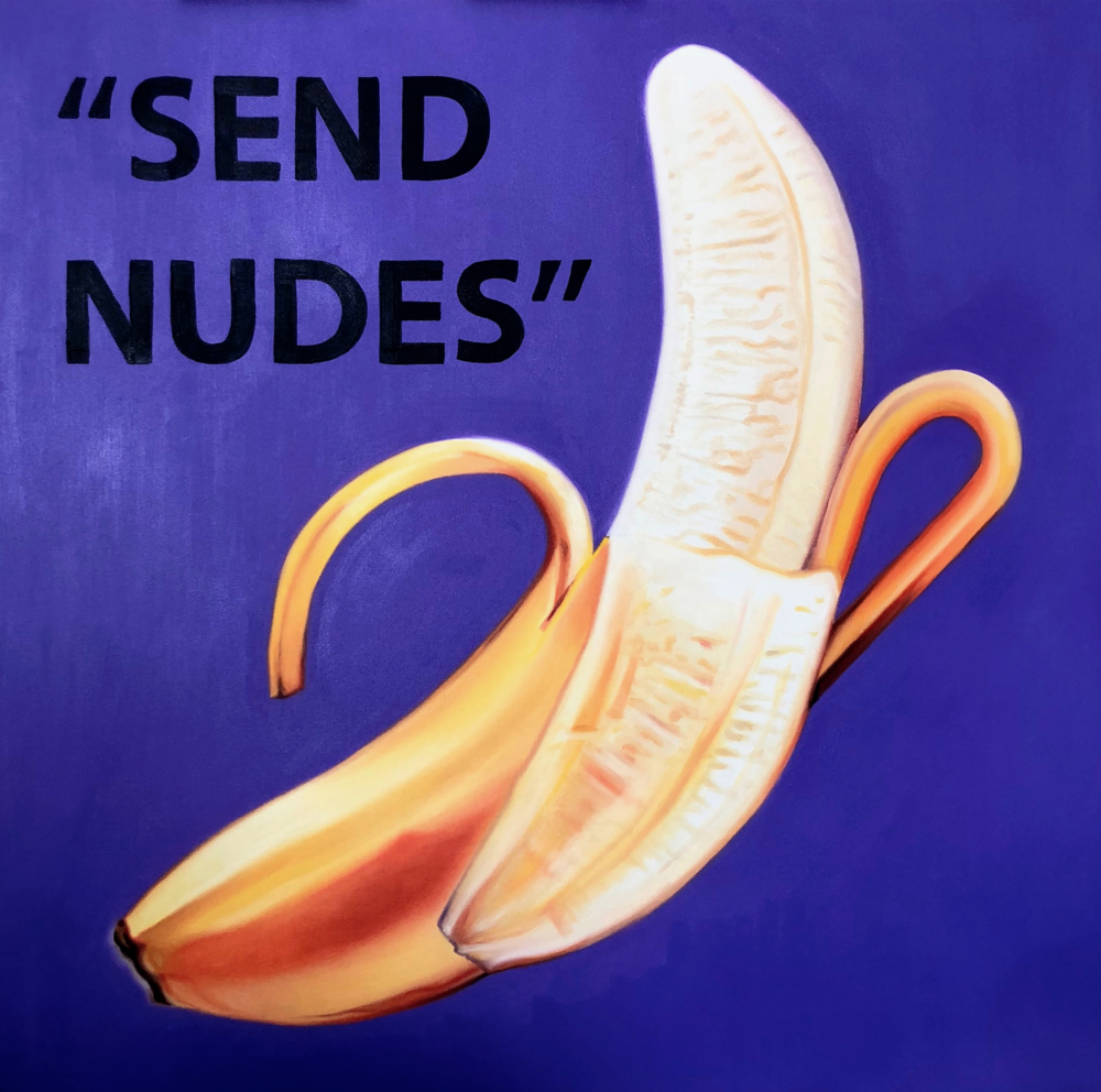 "THE KAPLAN TWINS, ""SEND NUDES"" (2018). OIL PAINT ON CANVAS. 36"" X 36"". COURTESY OF THE ARTISTS."