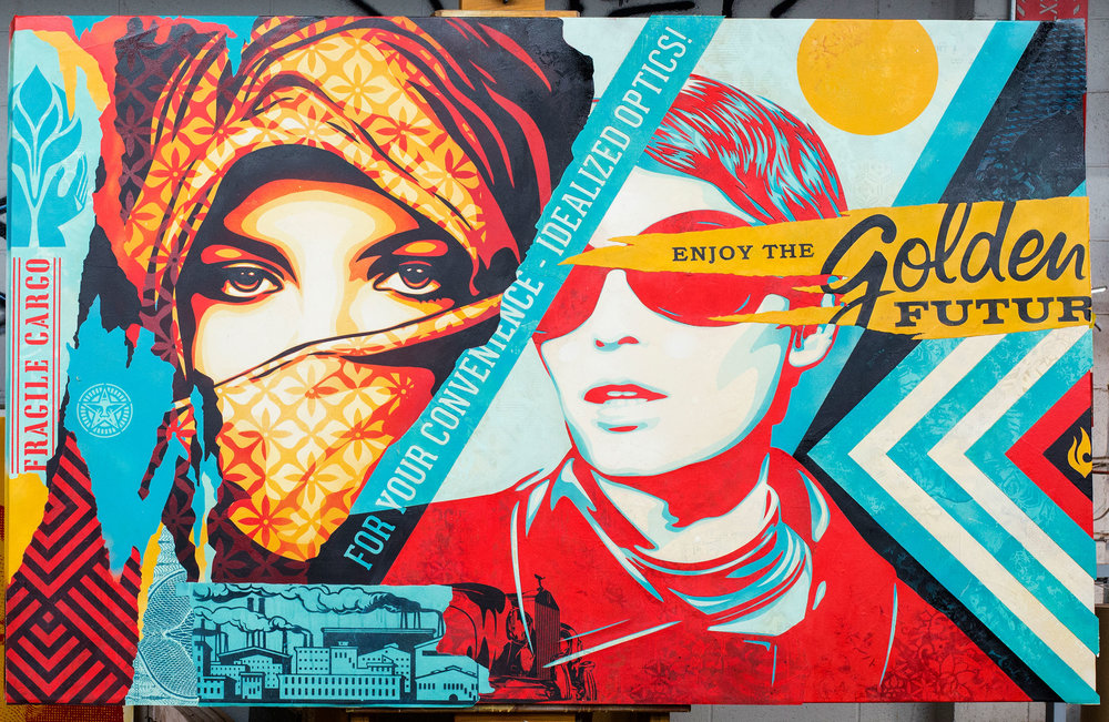 "SHEPARD FAIREY. ""GOLDEN FUTURE"" (2018). MIXED MEDIA (STENCIL, SILKSCREEN, AND COLLAGE) ON CANVAS. 88 X 58 IN."