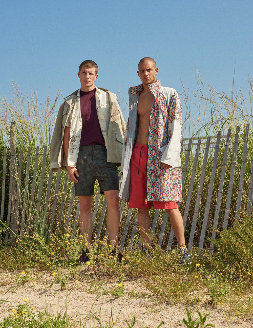LANVIN     jacket, shirt, t-shirt, and shorts and   ADIDAS     shoes.   DYNE     coat and shorts and   NIKE     shoes.