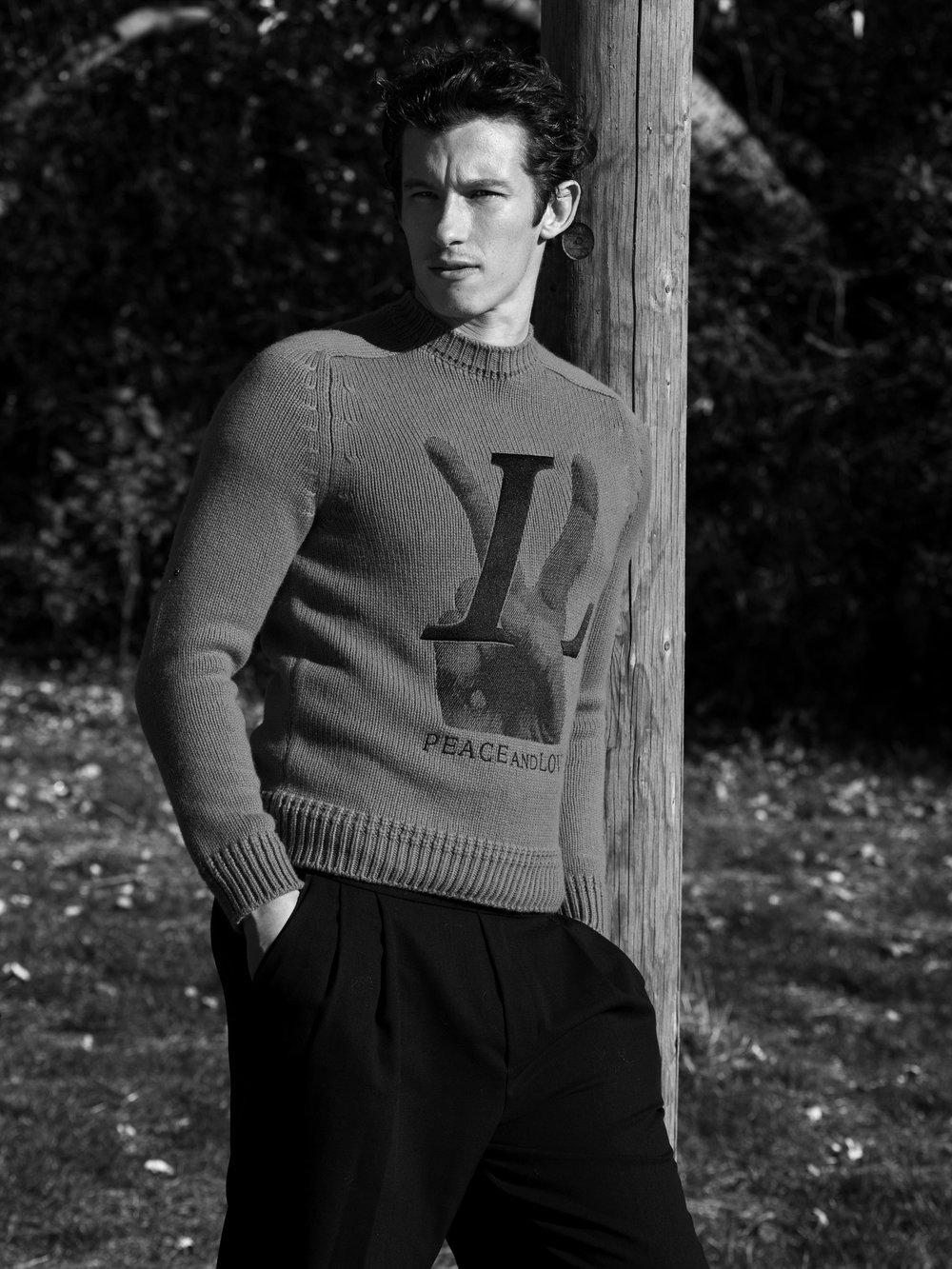 LOUIS VUITTON     sweater, and   ALEXANDER MCQUEEN     pants