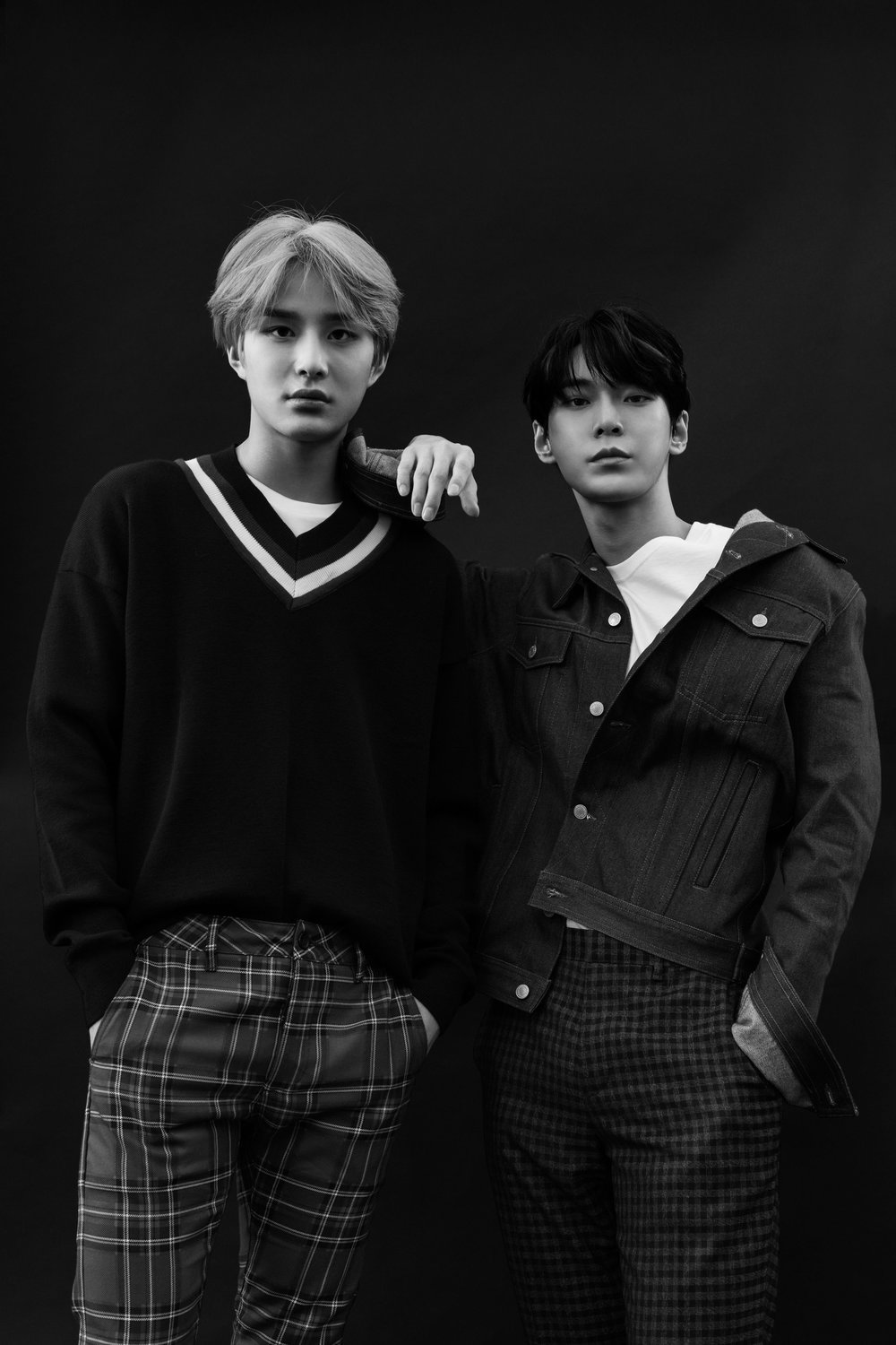 Jungwoo wears   TOPMAN     sweater and pants and   HANES     t-shirt. Doyoung wears his own clothing.