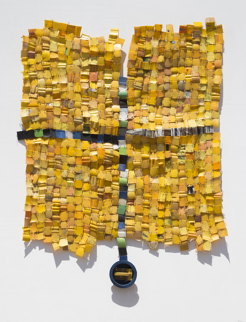 "SERGE ATTUKWEI CLOTTEY. ""GOOD JUDGEMENT"" (2018). PLASTICS, WIRES AND OIL PAINT. 66 X 51 IN. PHOTO: NII ODZENMA."