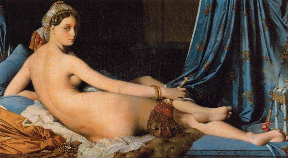"""Jean-Auguste-Dominique Ingres,  La Grande Odalisque , (1814) Oil on canvas, 36"""" x 63"""" (91 x 162 cm), (Musée du Louvre, Paris)"""