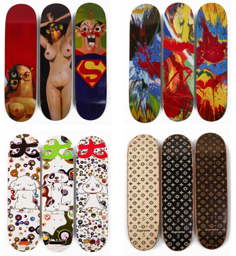 Collaborated boards between Supreme and various artists