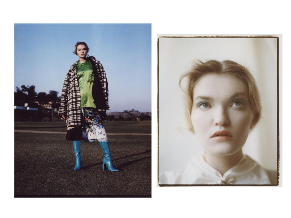 BALENCIAGA   jacket, dress, shorts, and boots.   ELLERY   dress.