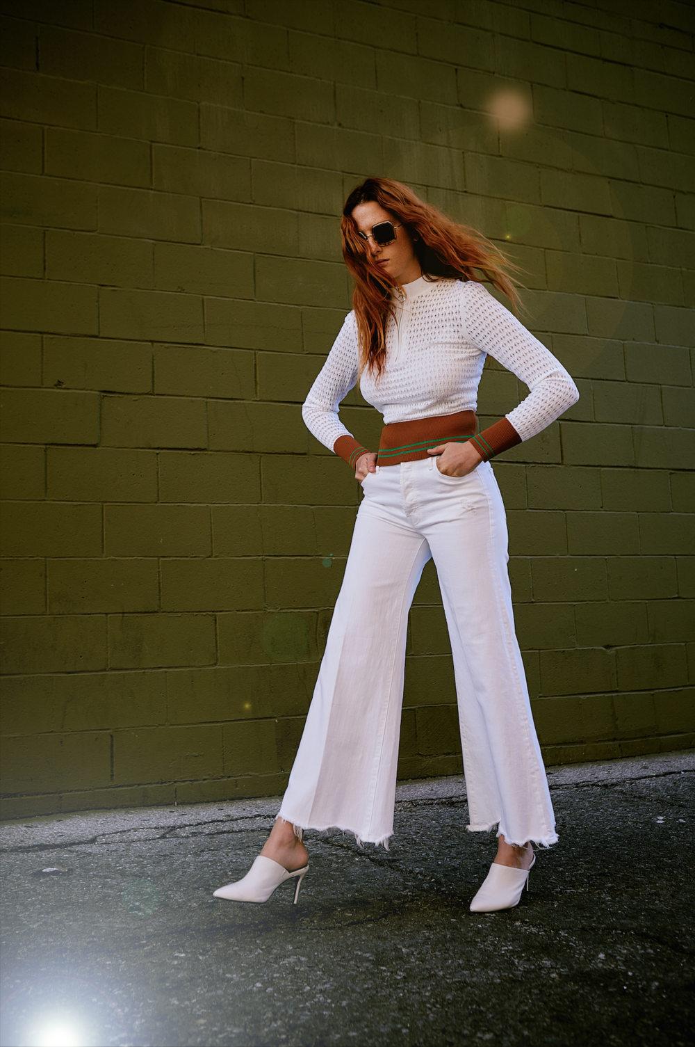 SANDRO   top,   MOTHER DENIM   jeans,   ALIAS MAE   shoes,   CUTLER AND GROSS   sunglasses.