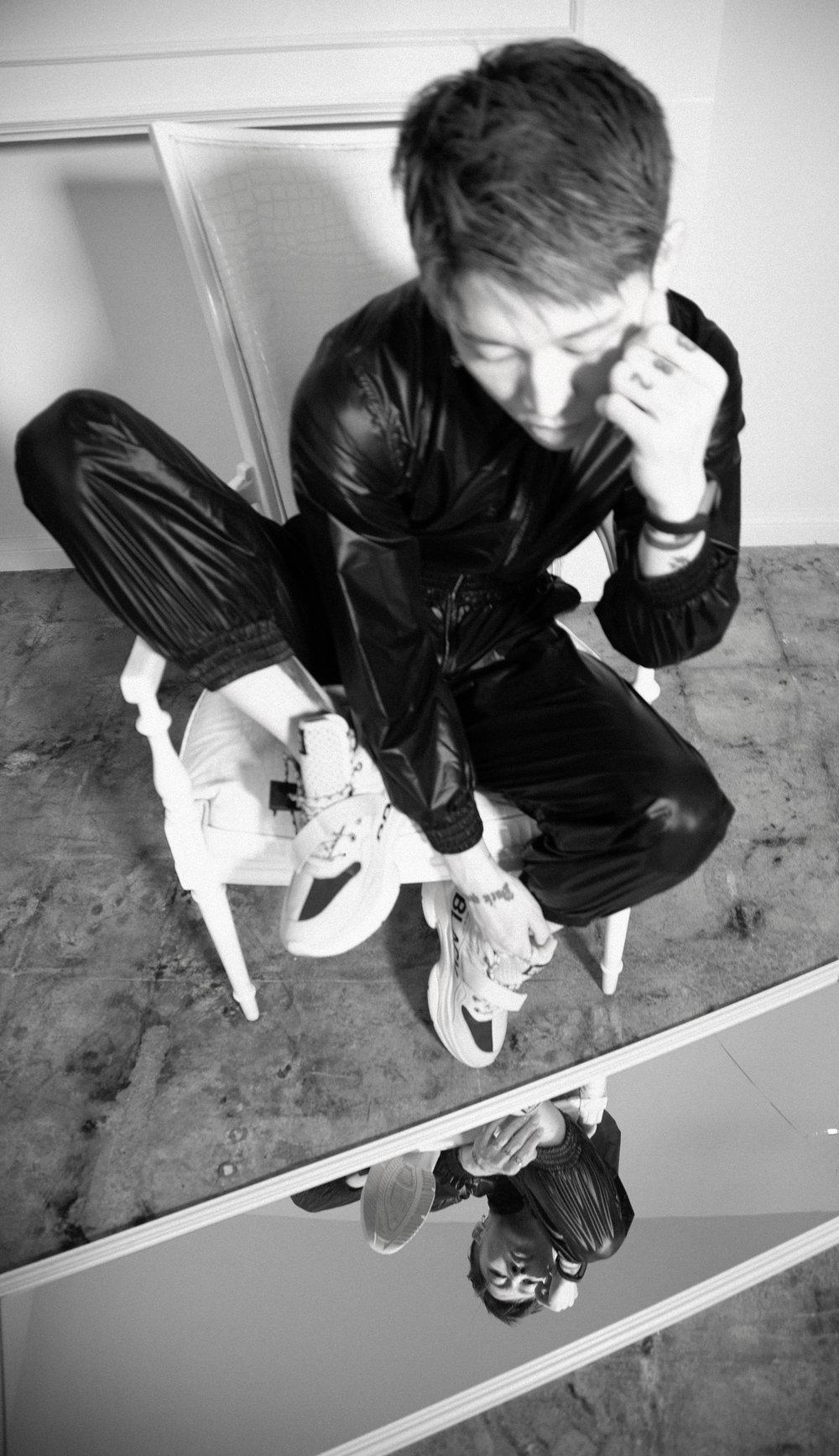 LA ROXX     jumpsuit and     BRANDBLACK     shoes.