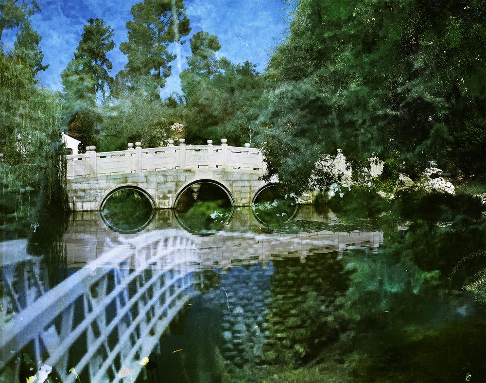 Huntington Chinese Garden and OEB Box 326 folder 3, photograph of Octavia E. Butler, Deception Falls, Washington, 2001-2005