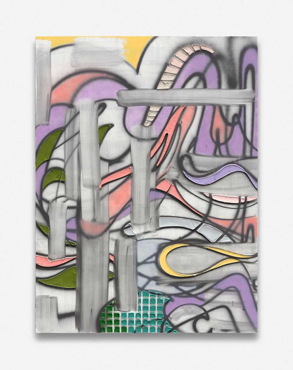 "KELTIE FERRIS. ""DRAG TRAP"" (2018). OIL AND ACRYLIC ON CANVAS IN THE ARTIST'S FRAME. TRIPTYCH; EACH PANEL: 80 X 60 IN. © KELTIE FERRIS. COURTESY OF THE ARTIST AND MITCHELL-INNES & NASH, NEW YORK."