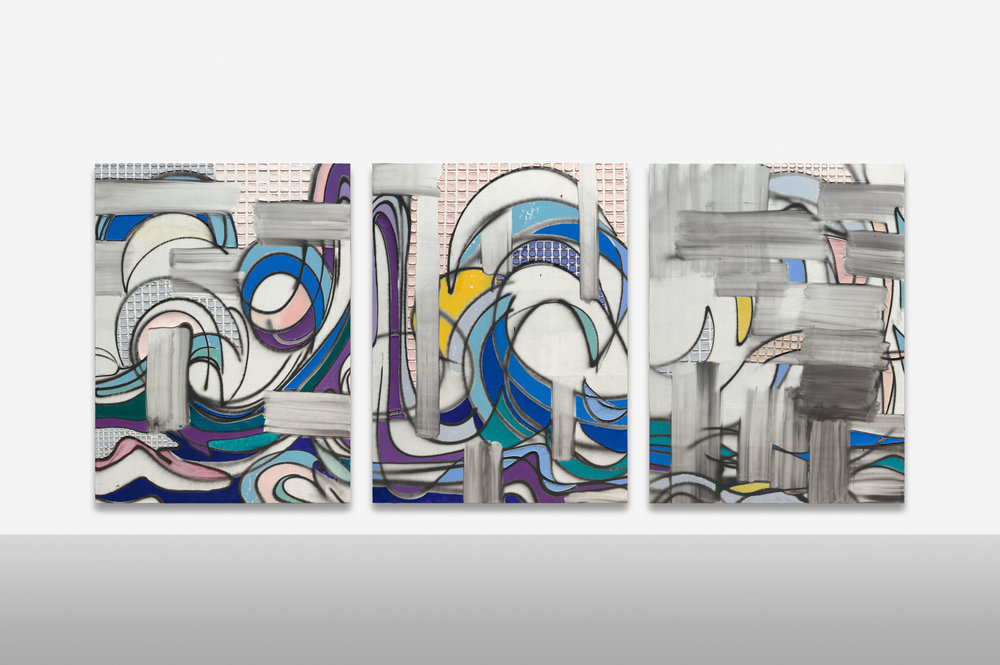 "KELTIE FERRIS. ""1WAVE1DAY1"" (2018). OIL AND ACRYLIC ON CANVAS. TRIPTYCH; EACH PANEL: 80 X 60 IN. © KELTIE FERRIS. COURTESY OF THE ARTIST AND MITCHELL-INNES & NASH, NEW YORK."